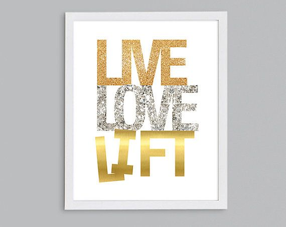 Live Gold Quotes Cool Live Love Lift Inspirational Fitness Art  Crossfit Gift  Silver