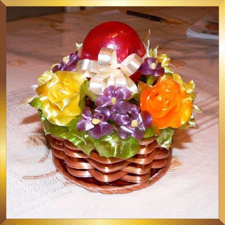 Sugar Art Flower Basket Decoration With Easter Egg Roses And Violets From Caramel Flowers UK