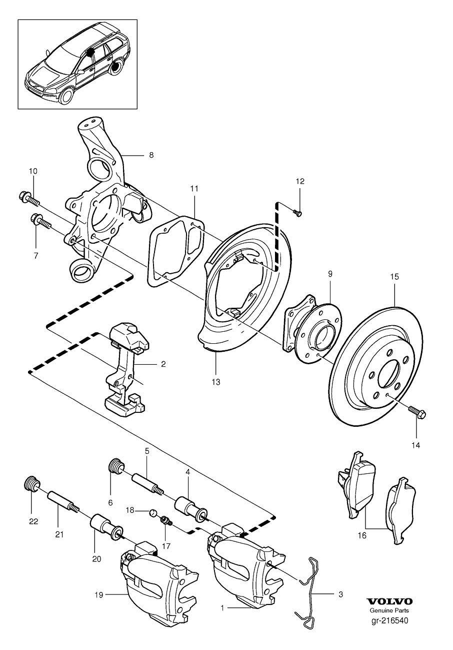 Rear wheel brake awd 2006 Volvo XC90 4.4l 8 cylinder