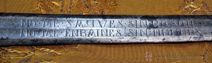 Impresionante espada de Toledo del siglo XVII con inscripciones y sellada. Pieza única / Armas antiguas en todocoleccion