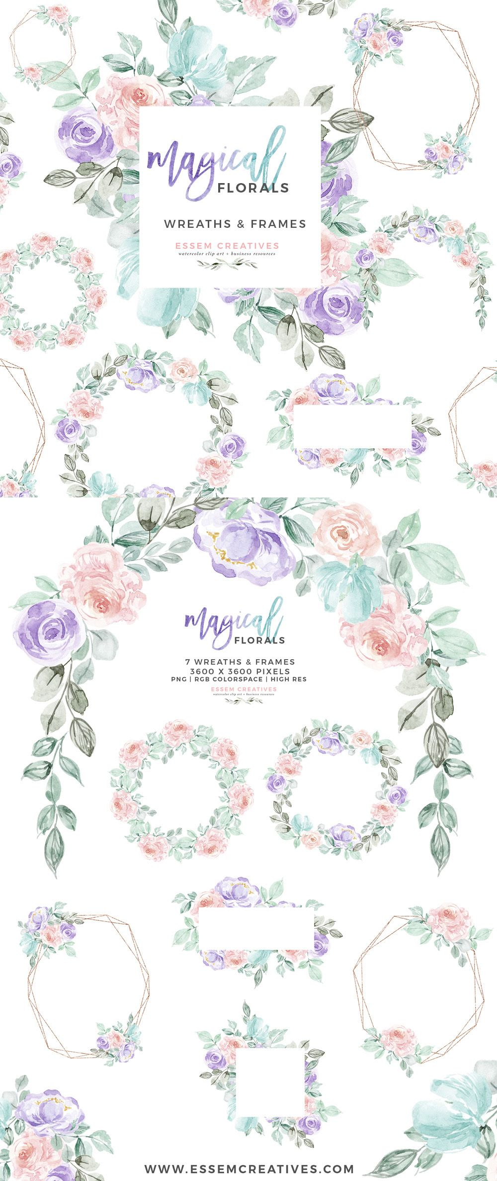 Watercolor Winter Floral Wreath Frames Clipart Unicorn Rainbow