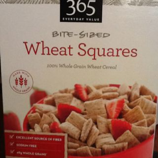 Whole Foods 365 brand bite-sized wheat squares, low in sugar and no ...