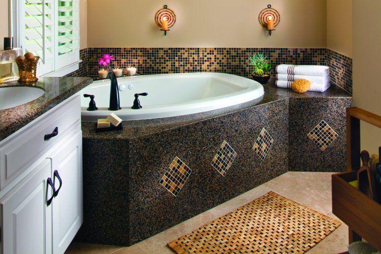 couleur salle de bain en 55 ides de carrelage et dcoration dco design et interieur - Petite Salle De Bain Avec Baignoire Dangle