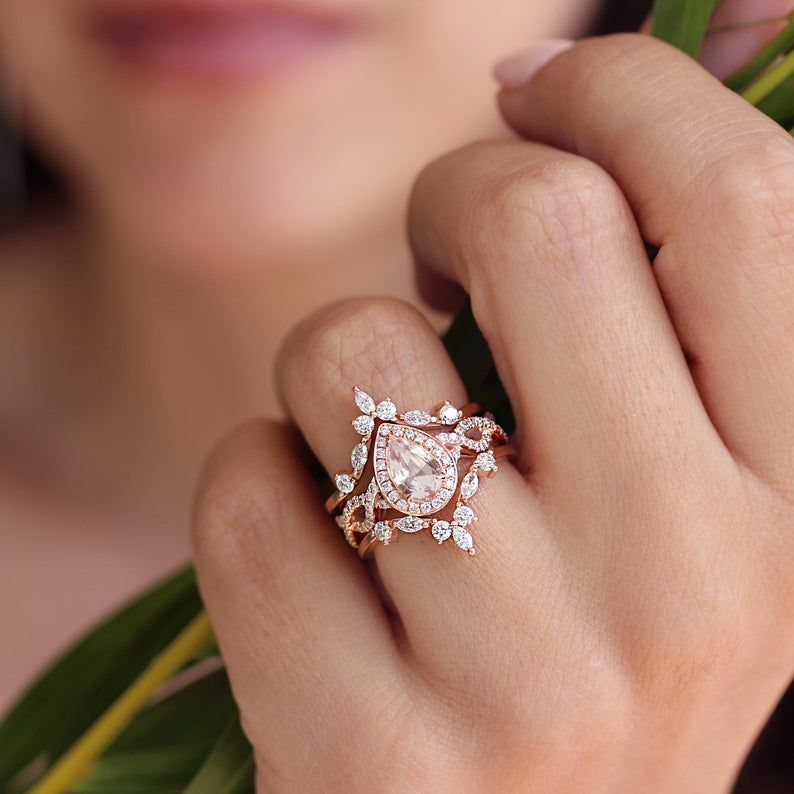 Pear Morganite diamond halo, twist shank, with rin