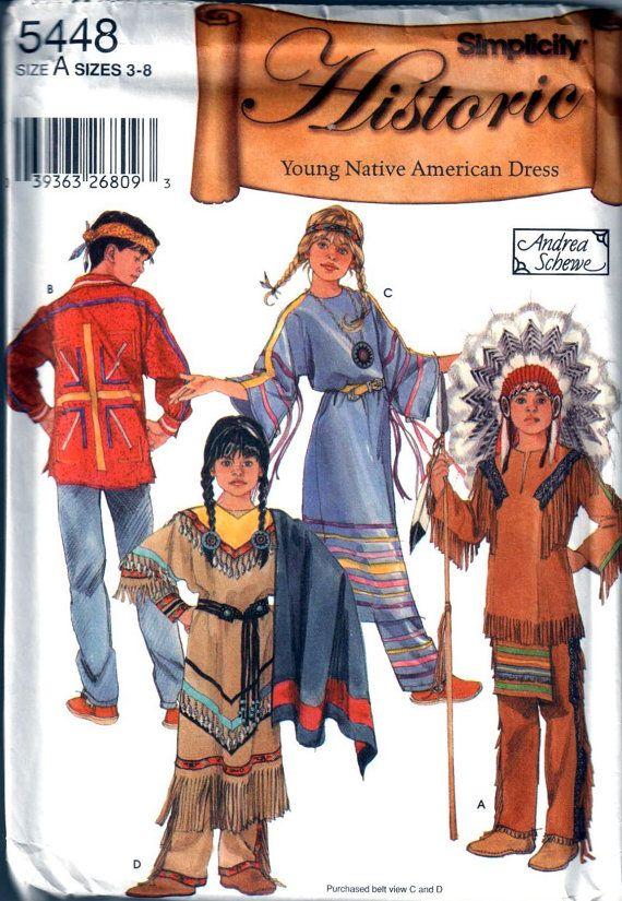 Simplicity 5448 Boys Girls American Indian Costume Pattern Child ...