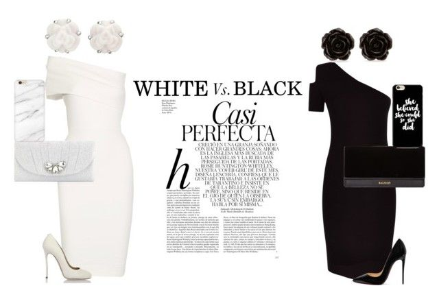 """""""WHITE vs. BLACK"""" by makenziethedancer ❤ liked on Polyvore featuring Jaeger, Michelle Mason, Dsquared2, Christian Louboutin, Erica Lyons, Chanel, Balmain, Kate Landry, Whiteley and cute"""
