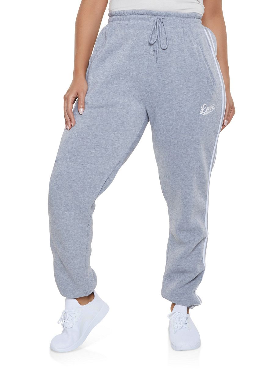 73b2c8b4481 Plus Size Love Varsity Stripe Sweatpants - Grey - Size 1X