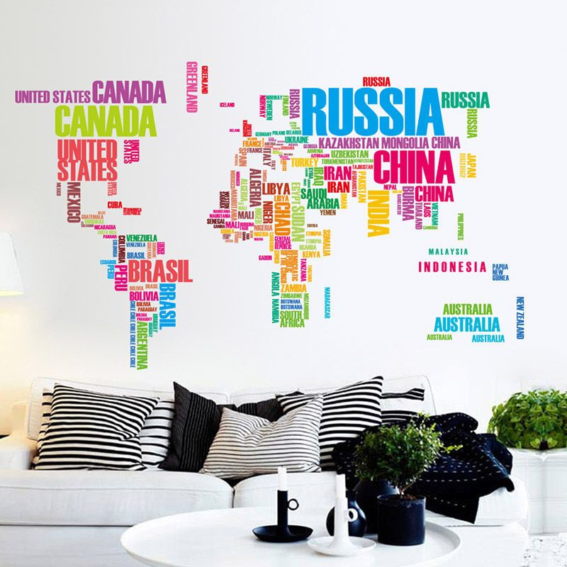 Removable colorful world map vinyl wall sticker decal mural art colorful world map wallpaper art office ebay httpebay gumiabroncs Choice Image