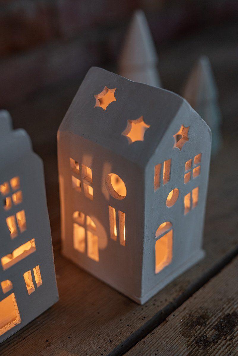 Mein Töpfertagebuch (8): Anleitung für Lichthäuser aus Ton als Weihnachtsdeko #gesso