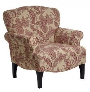 UPHOLSTERED RED PAISLEY CHAIR, $299