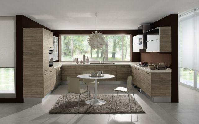 Einrichtungsideen küche modern  einrichten küche u-form holz-furnier fronten-gemütlicher teppich ...