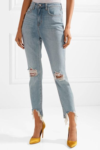 The High Line Cropped Distressed High-rise Skinny Jeans - Light denim L'agence RNuE1cU0pj