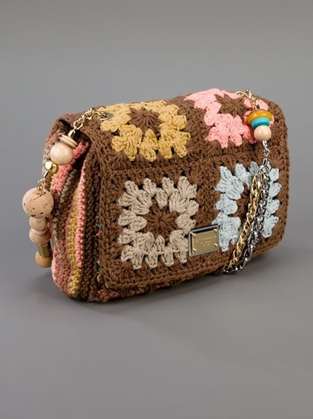 01700110167f Dolce   Gabbana Crochet Bag in Brown - Lyst