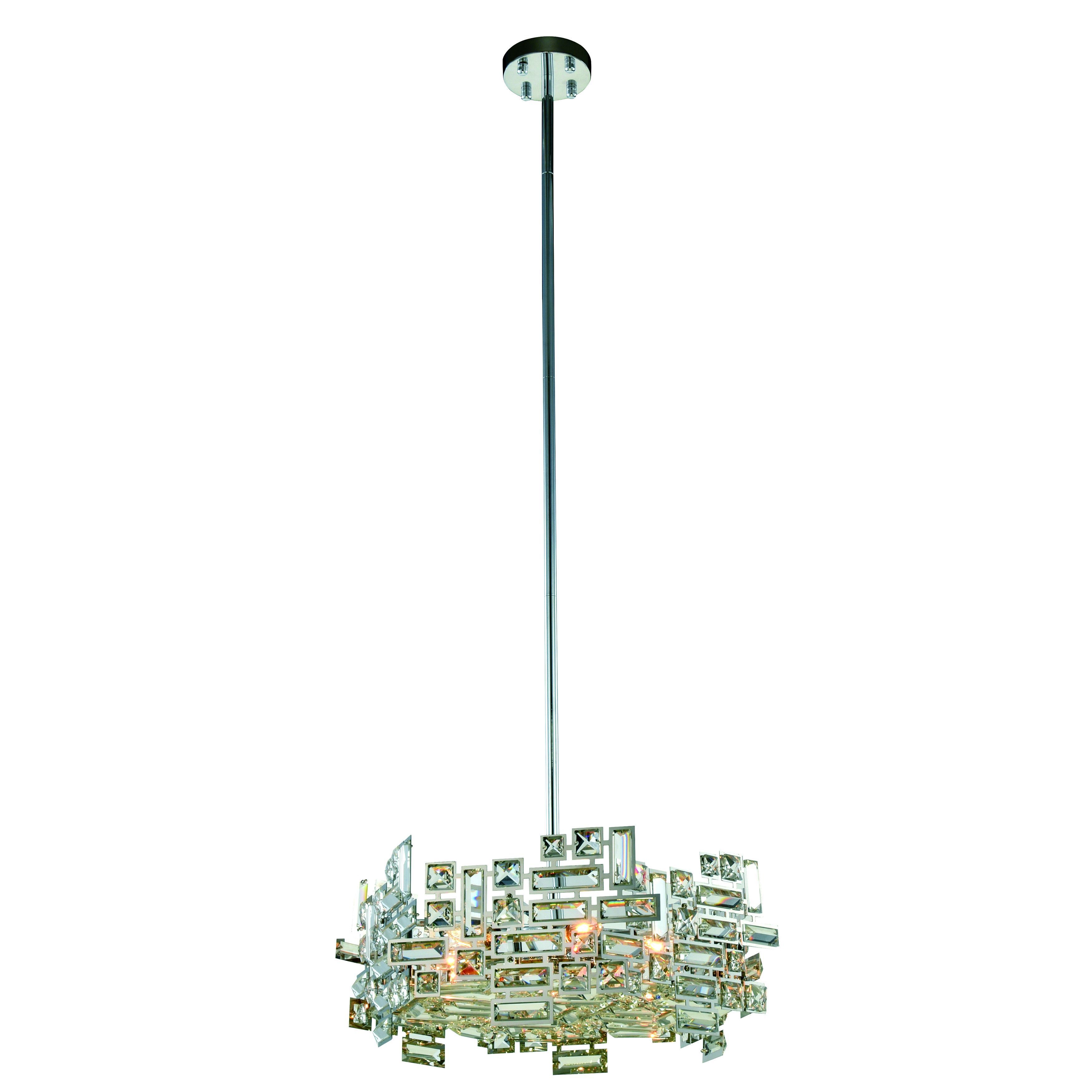 Elegant Lighting Picasso 20 Inch Pendant Lamp With Chrome Finish And Crystal Pendant Chrome Clear Elegant Lighting Geometric Chandelier Cool Floor Lamps
