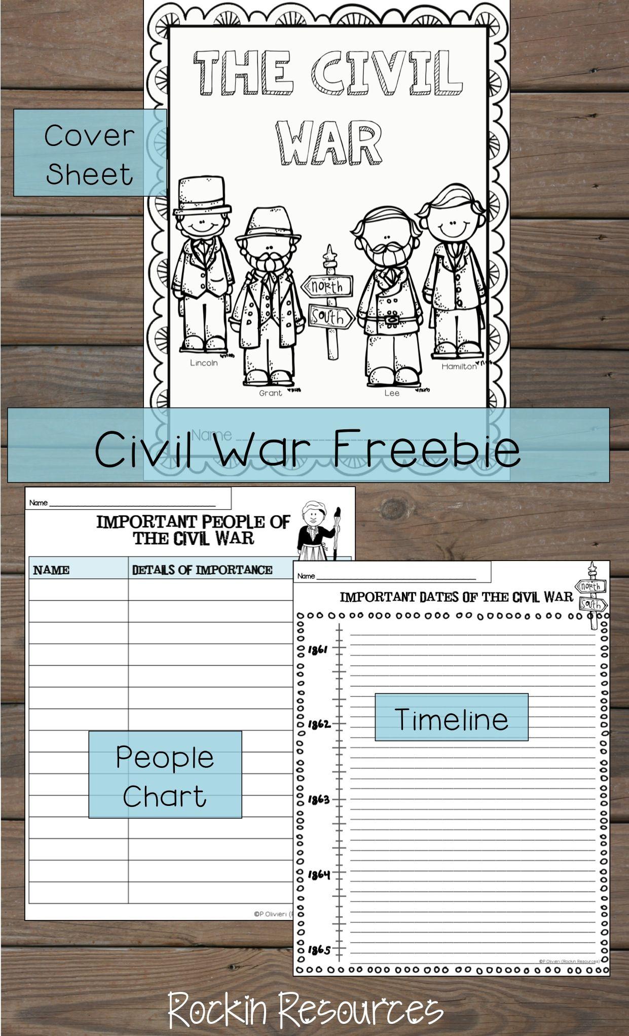 worksheet Civil War Timeline Worksheet civil war free product a cover sheet timeline and important people