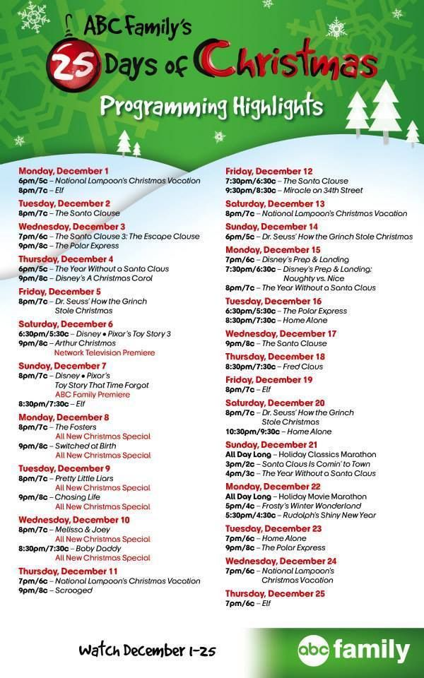 Today Begins The 25 Days Of Christmas On Abc Family