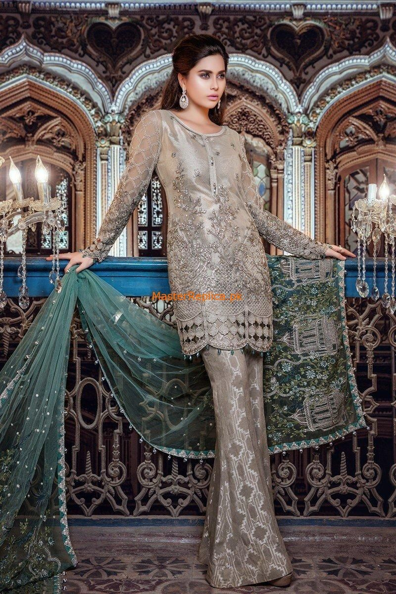 cab2c991460 Maria B Unstitched MBROIDERED - Moonlight   Dull Sea Green (BD-1107) Replica