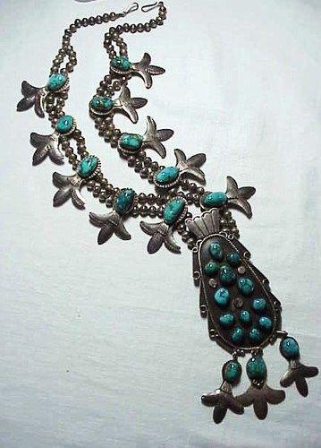 Vintage Knpobo Cradle Flower Squash Blossom Sterling Turquoise Necklace Taos | eBay