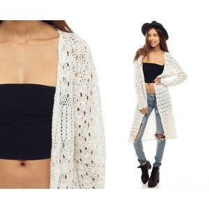 White Crochet Cardigan Long Sheer Sweater 90s Boho Festival Open ...