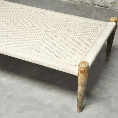 Manjhi woven Indian daybed day bed bench charpai charpoy manjha 180x90cm  White L - Manjhi Woven Indian Daybed Day Bed Bench Charpai Charpoy Manjha