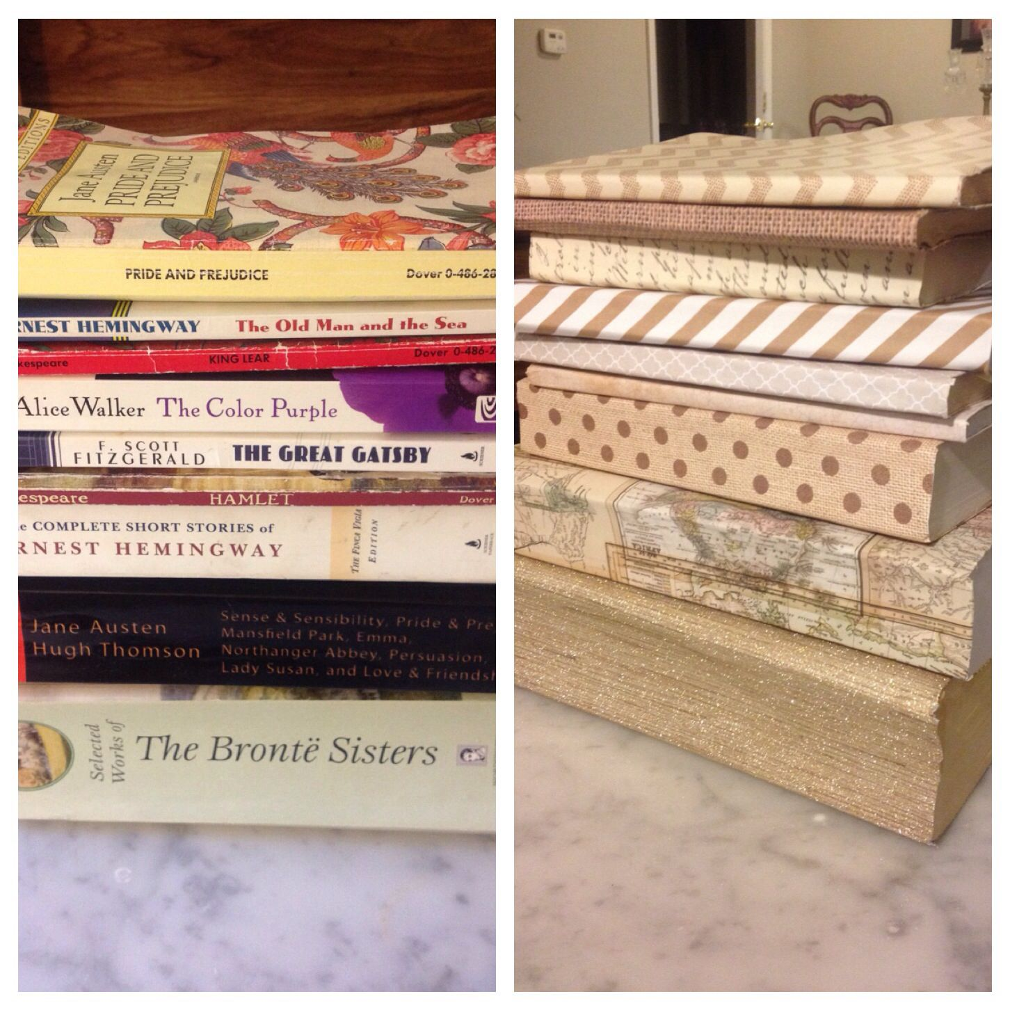 Cover your favorite books in paper all in the same color scheme to add some cute collaboration to your bookshelf. Just mod podge and decorative paper from Hobby lobby