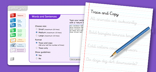 Joined up handwriting worksheets for cursive writing