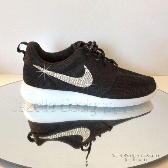 Bling Nike Roshe One Black   White Women s Nike by JezelleDesigns ce1835a0e