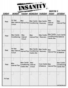 Insanity Vertical Workout Calendar   Body Basics