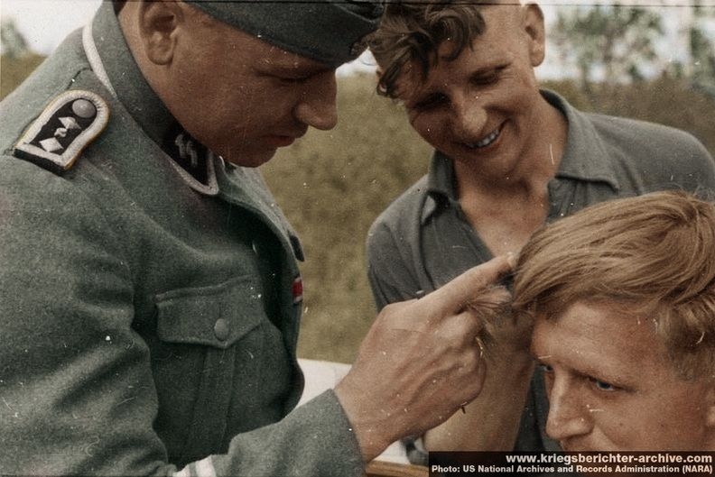 Ss Man Gets A Haircut In Field Ww2 Colorizations