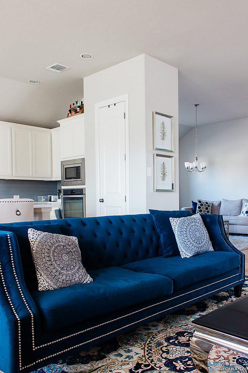 Living Room  Blue Velvet Sofa  White Kitchen  Blue living room
