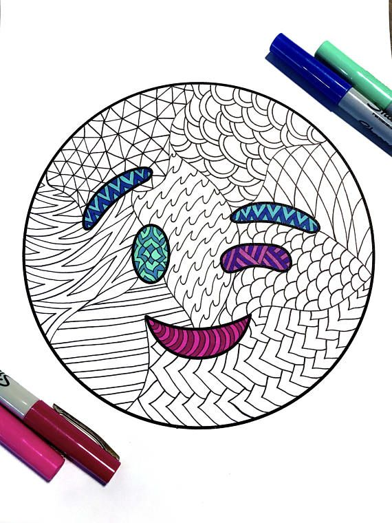 Wink Emoji PDF Zentangle Coloring