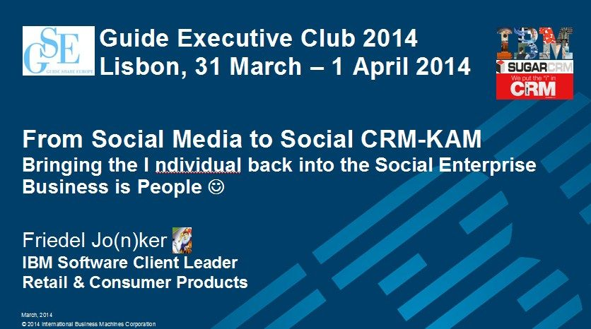IBM and SugarCRM bring the I ndividual back into the Social Enterprise. Business is People :-)