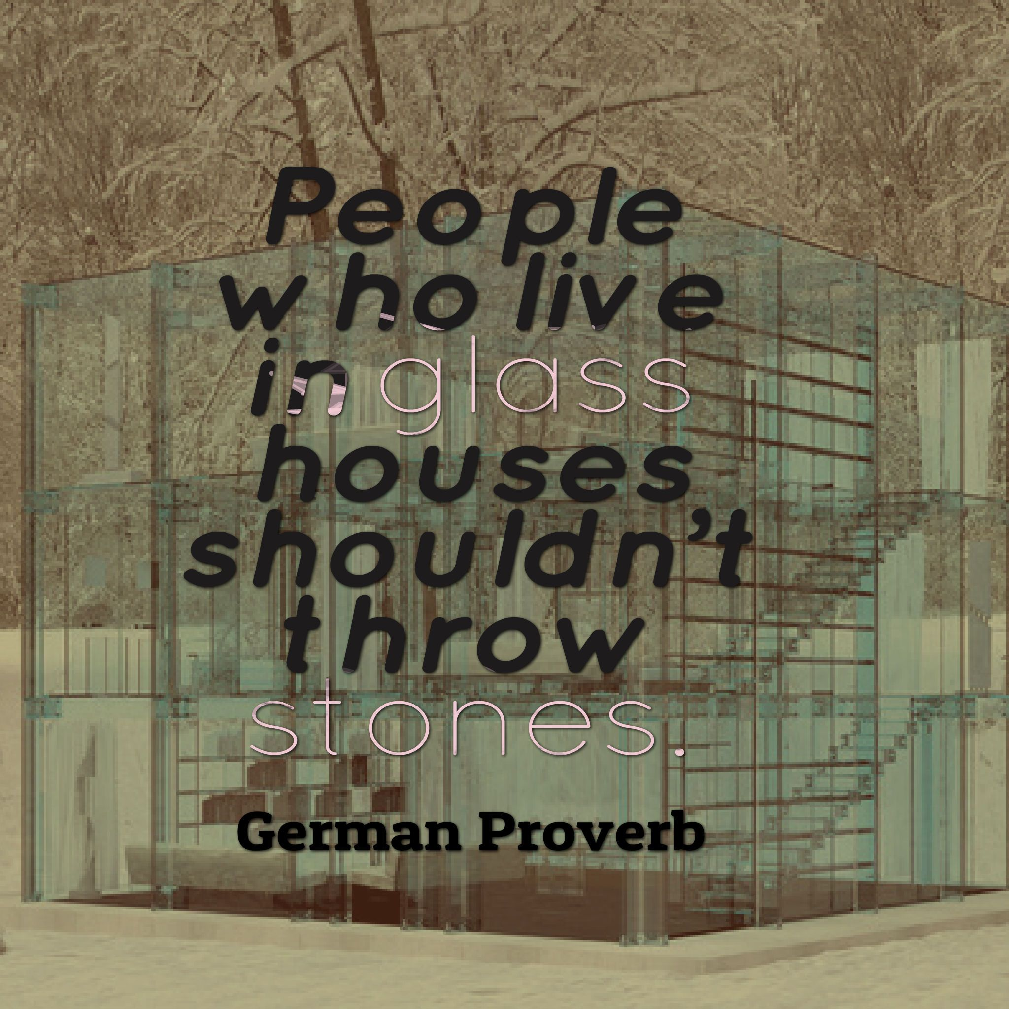 people who live in glass houses shouldnt throw stones