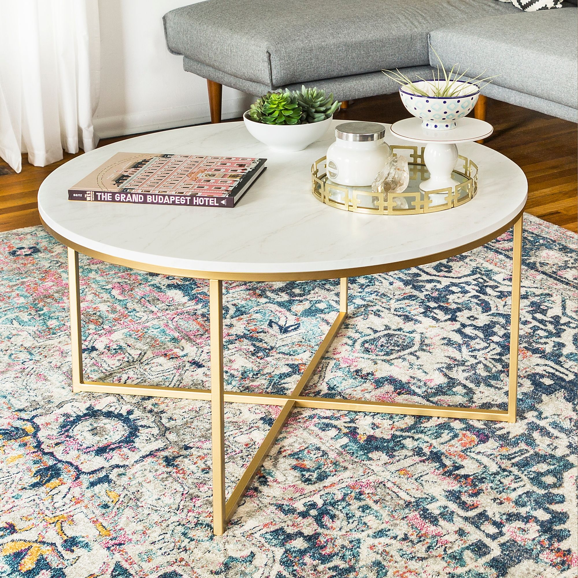 Forest gate xbase round coffee table in gold with faux