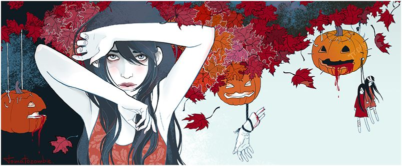 "This is so damn pretty! ""October"" by TOMATOZOMBIE.deviantart.com on @deviantART #art #girl"