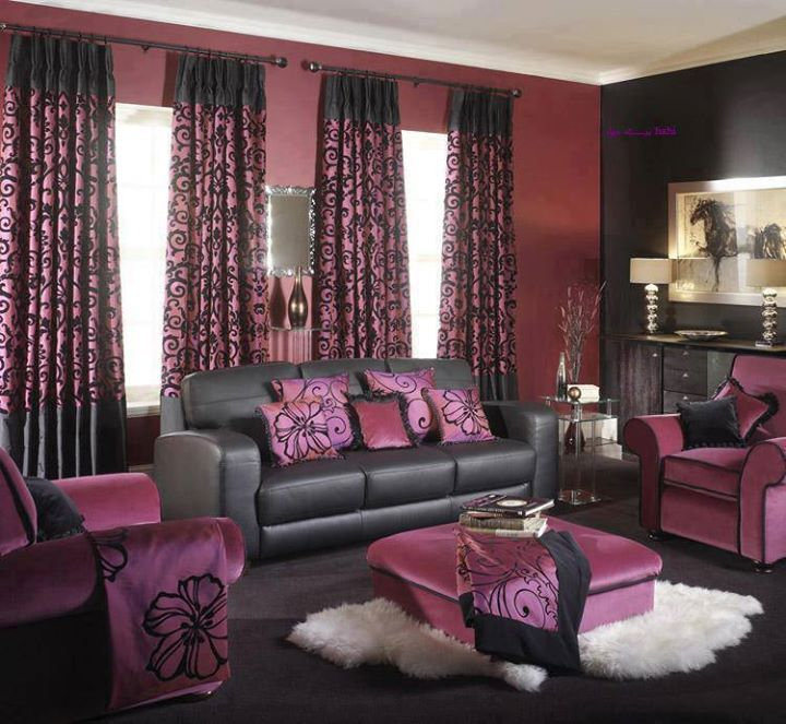 Magenta Pink Red Grey Black Colour Combo Brings Out A Look For This Living Room