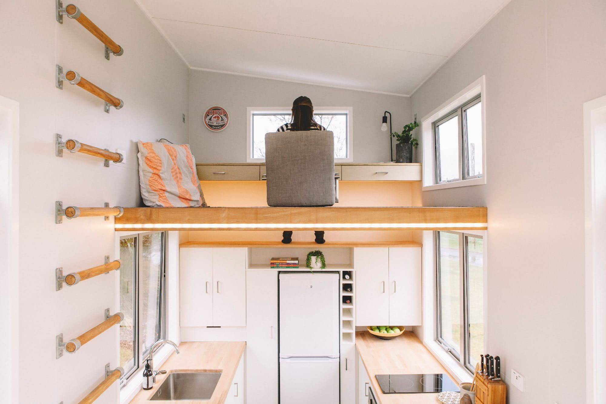 Access To The Millennial Tiny Houseu0027s Loft Office Is Gained By Ladder  Integrated Into The Wall