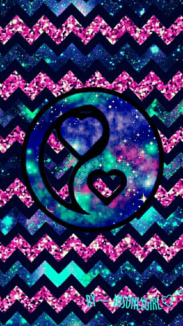 Heart yin yang galaxy glitter wallpaper I created for the