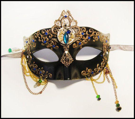 "Beautiful Masquerade Steampunk Deluxe Mask : ""Mechanical Cherub"""