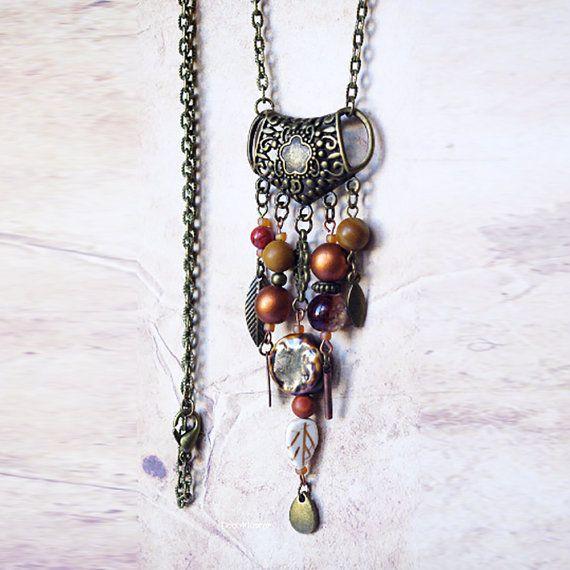 Brown necklace / gypsy bib necklace / earth tone by CocoFlowerShop