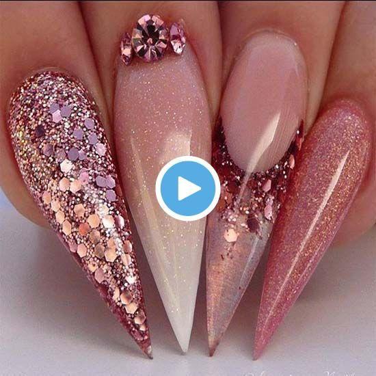 Bedårande rosaguld naglar Ombré 2019 # Akryl #Nagel #Babyboom #NagelNa …