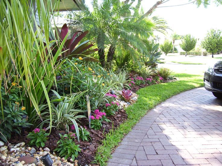 Florida tropical landscaping ideas front south florida for Low maintenance tropical garden