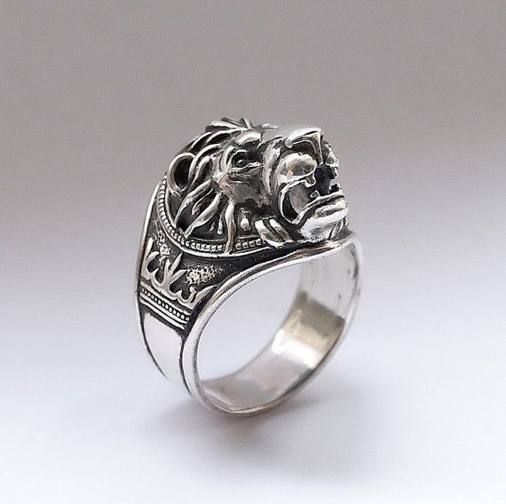15c1cd208 Lion head ring, Lion ring for man, Ring for man, Bikers ring, Silver ...