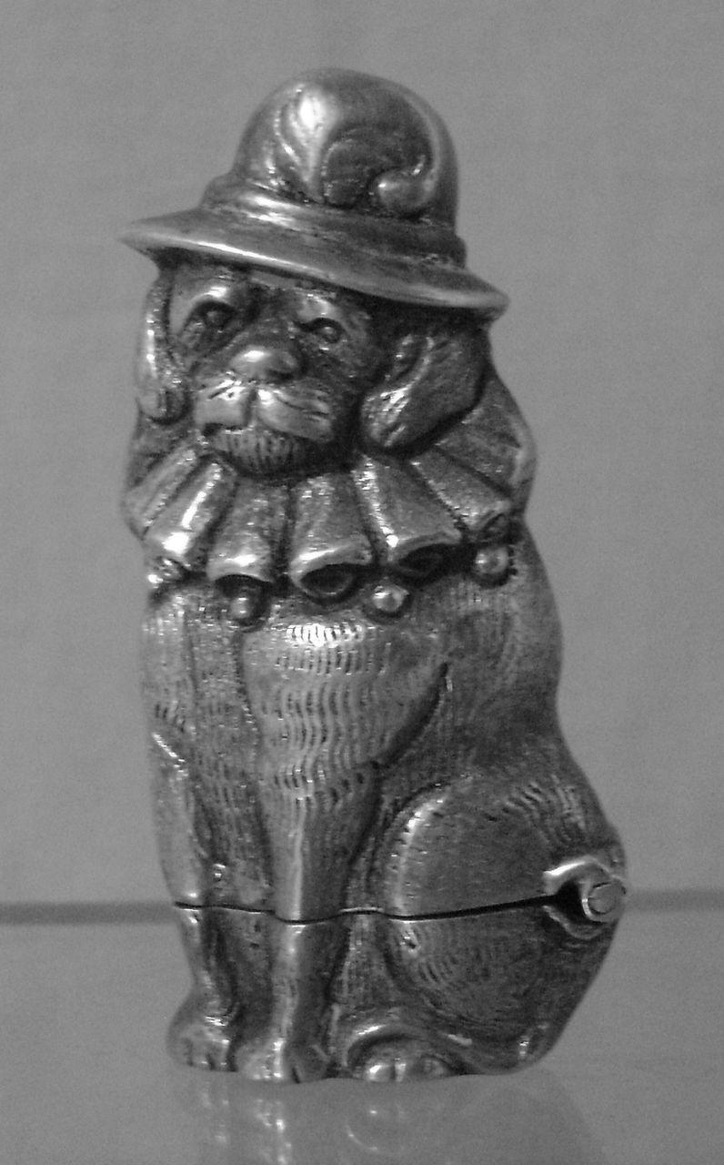 Antique Silver Bath Accessories: Vintage Silver Dog In Hat Vesta Or Match Safe In 2019