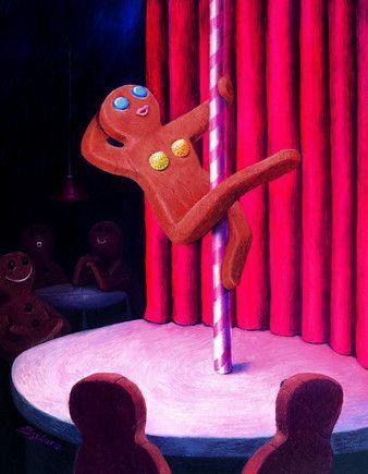 Gingerbread Man Pole Dancing Gingerbread Dancers Art Quirky Art