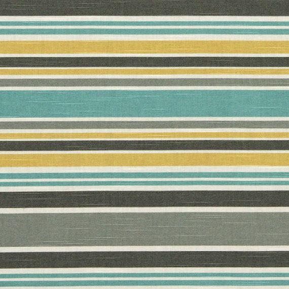 Aqua Yellow Striped Upholstery Yardage Cotton Striped Curtain