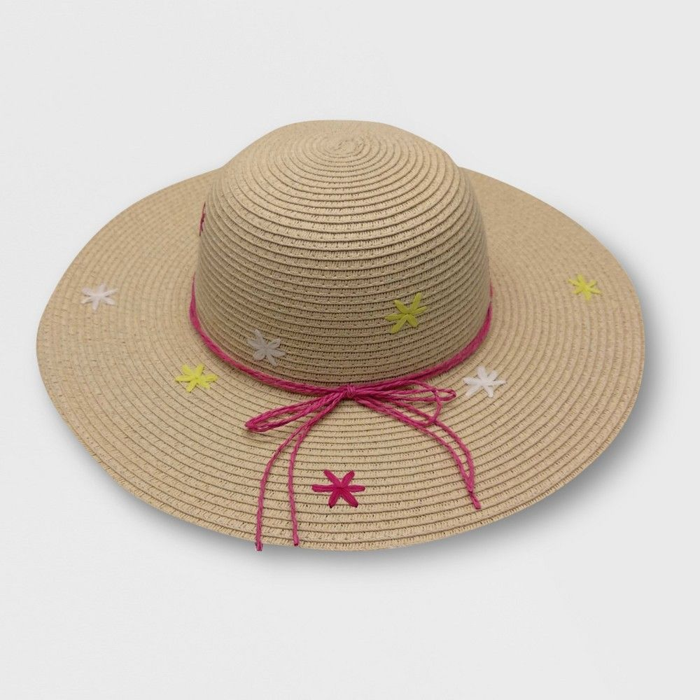 510589d749460 Baby Girls  Embroidery Floppy Hats - Cat   Jack Beige 12-24M ...