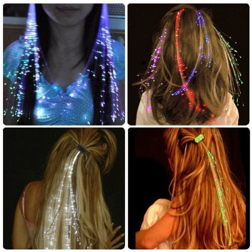 10x Led Hair Extensions Girls Gift Party Bag Clip Pony Tail Fiber