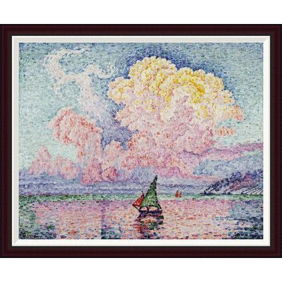 """Global Gallery Pink Clouds, Antibes by Paul Signac Framed Painting Print Size: 33"""" H x 40"""" W"""