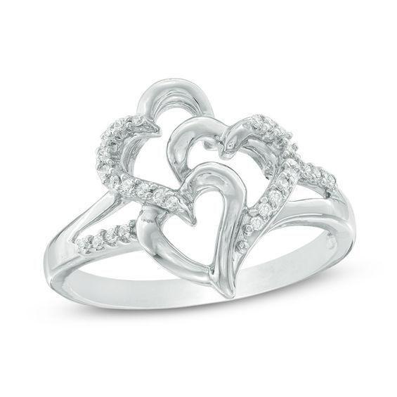 Zales 1/10 CT. T.w. Champagne Diamond Open Wave Ring in Sterling Silver Oe3ln